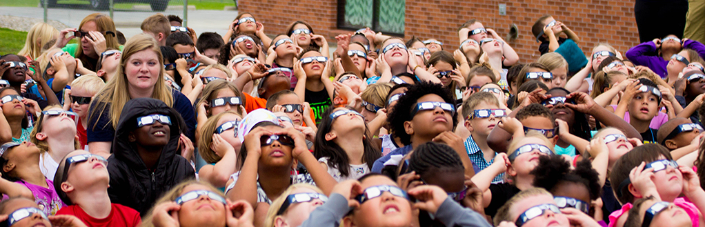 Students Observing Solar Eclipse