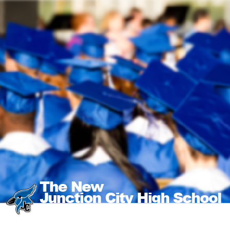 Advertisement for JCHS. Photo of students at graduation wearing blue caps and gowns.