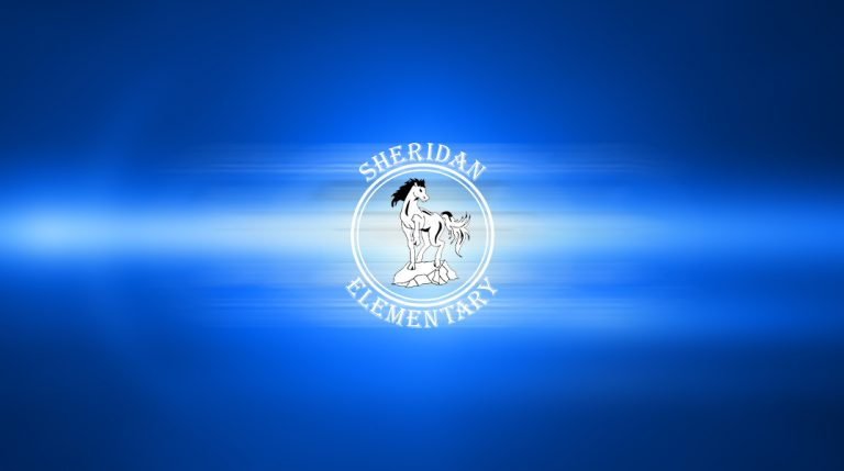 Sheridan logo on a blue abstract background